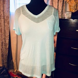 Ladies PL sheer Aqua blouse Style & Co. Macy's